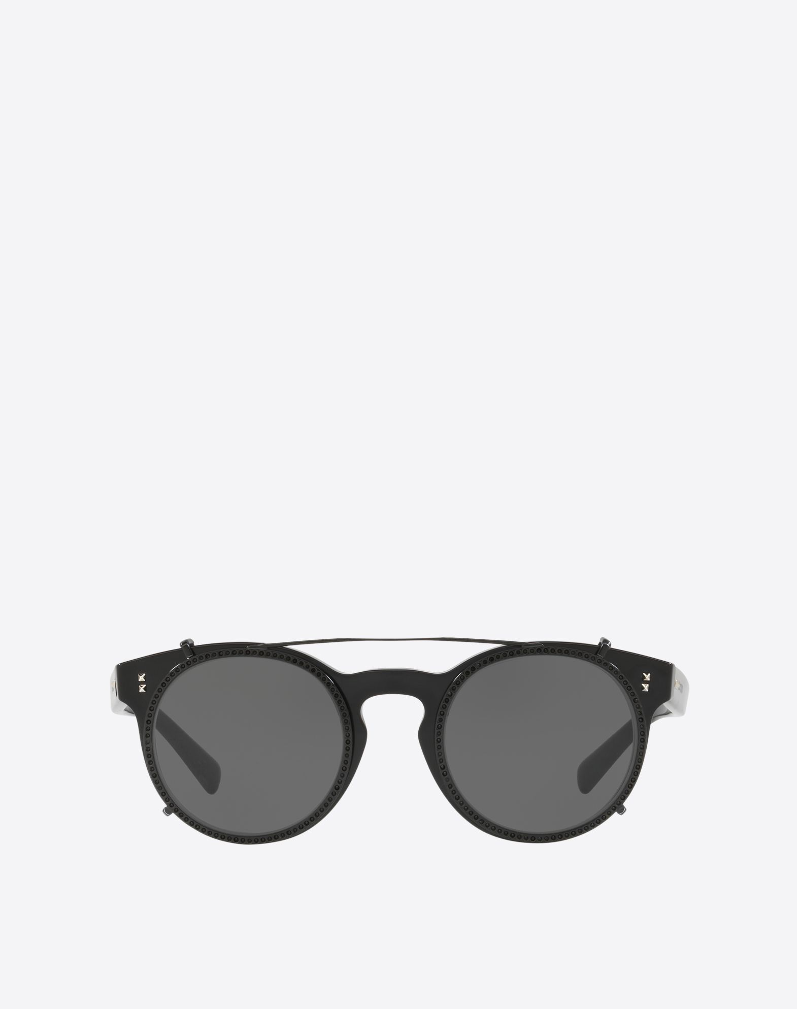 ROUND FRAME ACETATE SUNGLASSES WITH CRYSTAL CLIP