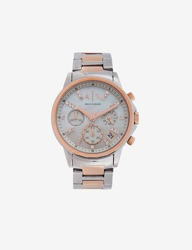 EMBEDDED SHINE STONES TWO-TONES CHRONOGRAPH