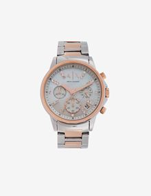 ARMANI EXCHANGE EMBEDDED SHINE STONES TWO-TONES CHRONOGRAPH Uhr Damen f