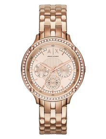 ARMANI EXCHANGE ROSE GOLD TONE AND SHINE STONES CHRONOGRAPH Uhr Damen f