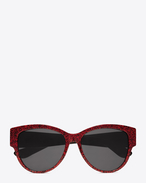 SAINT LAURENT Sunglasses D モノグラム M3/Fサングラス。レッドグリッターアセテート&ゴールドメタル製。フラッシュシルバーレンズ。   f