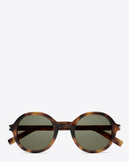 SAINT LAURENT CLASSIC E CLASSIC 161 Slim Sunglasses in Shiny Medium Havana Acetate with Green Lenses f