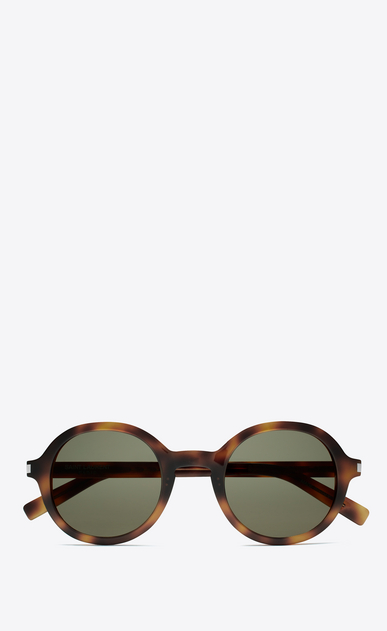SAINT LAURENT CLASSIC E CLASSIC 161 Slim Sunglasses in Shiny Medium Havana Acetate with Green Lenses a_V4