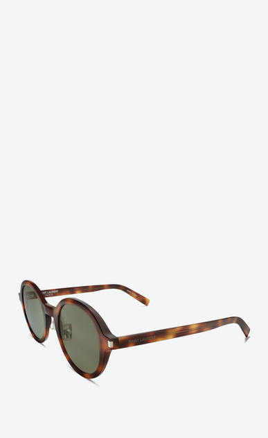 SAINT LAURENT CLASSIC E CLASSIC 161 Slim Sunglasses in Shiny Medium Havana Acetate with Green Lenses b_V4