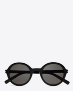 SAINT LAURENT CLASSIC E CLASSIC 161 Slim Sunglasses in Shiny Black Acetate with Smoke Lenses f
