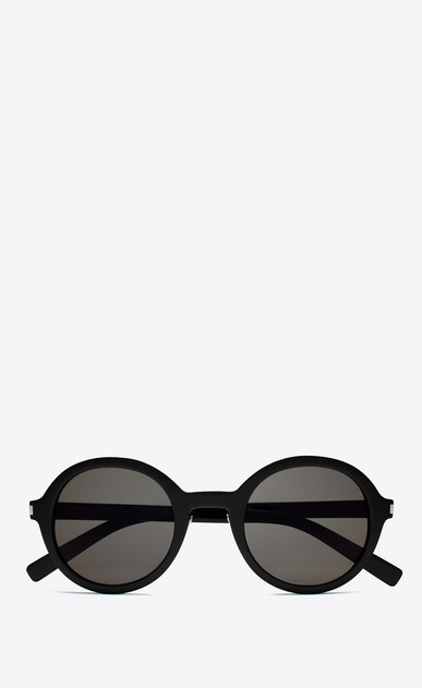 SAINT LAURENT CLASSIC E CLASSIC 161 Slim Sunglasses in Shiny Black Acetate with Smoke Lenses a_V4