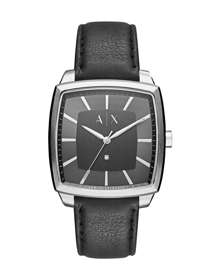 Armani exchange black leather gloves - Armani Exchange Modern Square Case Watch With Leather Band Man Front