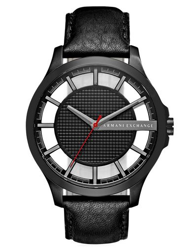 MINIMAL BLACK LEATHER GRID-FACE WATCH