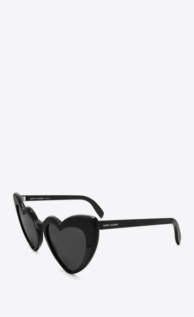 SAINT LAURENT NEW WAVE Woman NEW WAVE 181 LOULOU Sunglasses in Shiny Black Acetate with Grey Nylon Lenses b_V4
