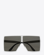 SAINT LAURENT NEW WAVE E NEW WAVE 182 BETTY Sunglasses in Shiny Silver Metal with Grey Nylon Lenses   f
