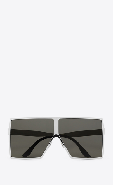 SAINT LAURENT NEW WAVE E NEW WAVE 182 BETTY Sunglasses in Shiny Silver Metal with Grey Nylon Lenses   a_V4