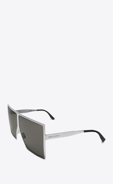 SAINT LAURENT NEW WAVE E NEW WAVE 182 BETTY Sunglasses in Shiny Silver Metal with Grey Nylon Lenses   b_V4