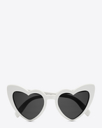 SAINT LAURENT NEW WAVE D NEW WAVE 181 LOULOU Sunglasses in Shiny Ivory Acetate with Grey Nylon Lenses f