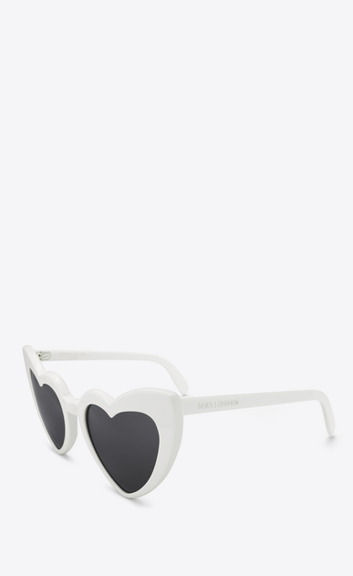 SAINT LAURENT NEW WAVE Woman NEW WAVE 181 LOULOU Sunglasses in Shiny Ivory Acetate with Grey Nylon Lenses b_V4