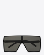 SAINT LAURENT NEW WAVE E new wave 183 betty sunglasses in shiny black acetate with grey nylon lenses   f