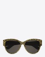 SAINT LAURENT MONOGRAM SUNGLASSES D monogram m3 sunglasses in gold glitter acetate and gold metal with flash silver lenses f