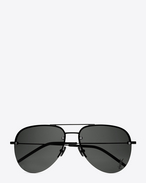 SAINT LAURENT MONOGRAM SUNGLASSES E monogram m11 sunglasses in semi matte black metal with grey lenses f