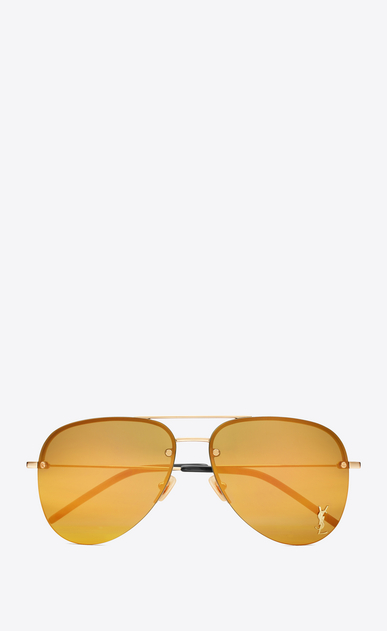 SAINT LAURENT MONOGRAM SUNGLASSES E monogram m11 sunglasses in shiny gold and gold metal with bronze mirrored lenses a_V4