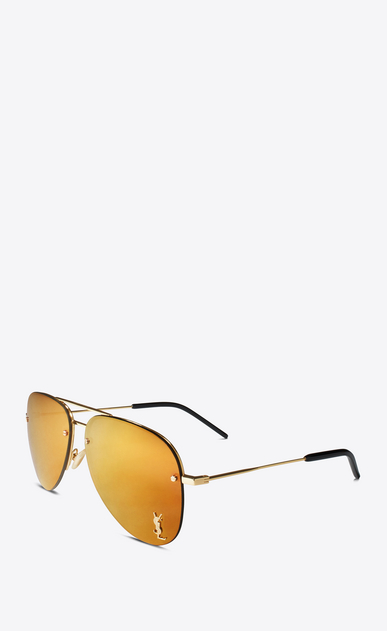 SAINT LAURENT MONOGRAM SUNGLASSES E monogram m11 sunglasses in shiny gold and gold metal with bronze mirrored lenses b_V4