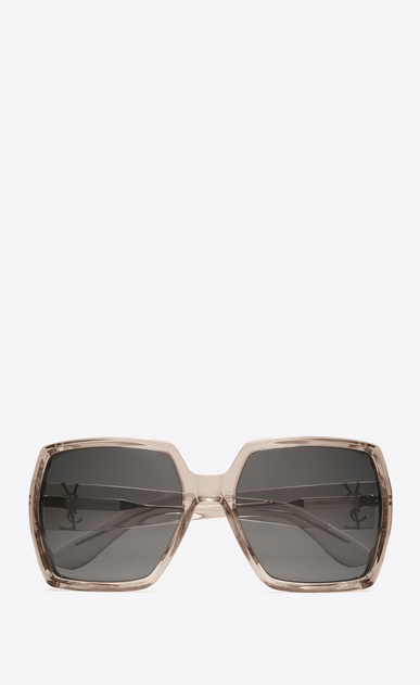 SAINT LAURENT MONOGRAM SUNGLASSES D monogram m2 sunglasses in transparent powder acetate and silver metal with flash silver lenses a_V4