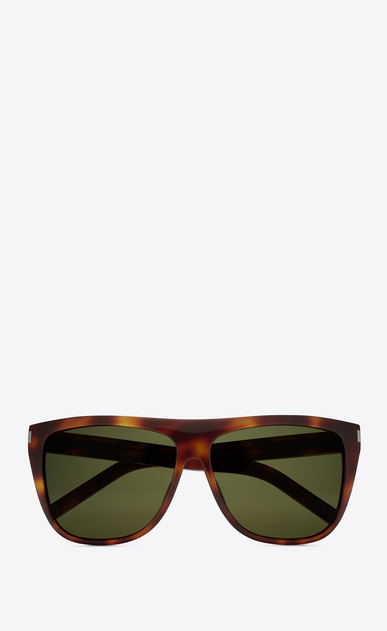 SAINT LAURENT NEW WAVE E new wave 1 sunglasses in shiny light havana acetate with green lenses a_V4