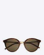 SAINT LAURENT CLASSIC E classic 57 sunglasses in shiny classic havana acetate and gold steel with mirror bronze lenses f