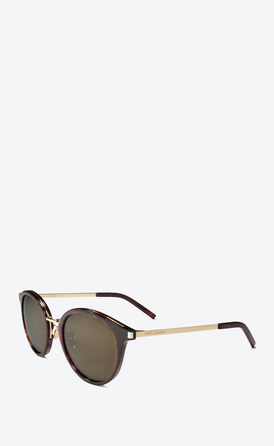 SAINT LAURENT CLASSIC E classic 57 sunglasses in shiny classic havana acetate and gold steel with mirror bronze lenses b_V4