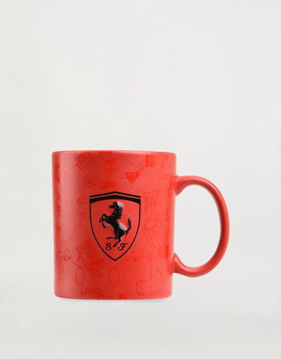 Ceramic Mug with 3D Ferrari Shield and pattern with glossy and matt effect