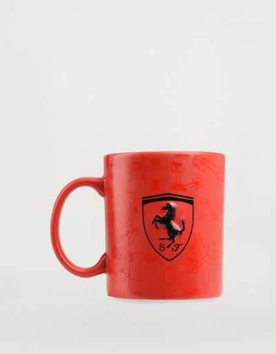 Ceramic mug with 3D Ferrari Shield and pattern with polished and matte effect.