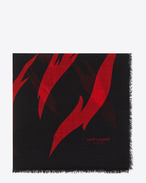 SAINT LAURENT Squared Scarves D FLAME Large Square Scarf in Black and Red Flame Print in wool  f