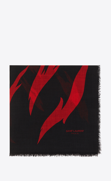 SAINT LAURENT Squared Scarves D FLAME Large Square Scarf in Black and Red Flame Print in wool a_V4