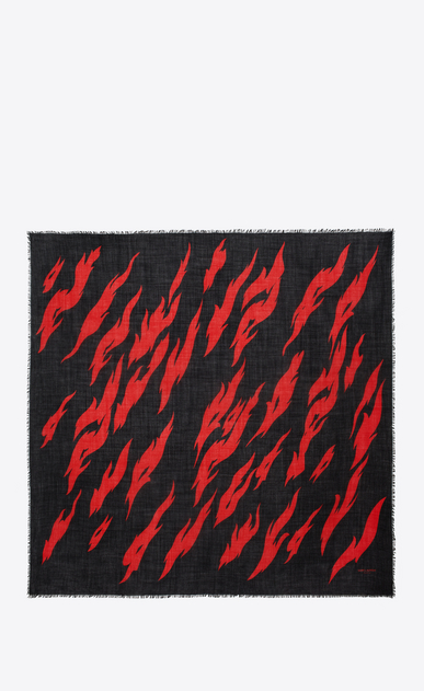 SAINT LAURENT Squared Scarves D FLAME Large Square Scarf in Black and Red Flame Print in wool b_V4