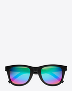 SAINT LAURENT CLASSIC E CLASSIC 51 Sunglasses in Shiny Black Resin with Rainbow Mirrored Lenses   f