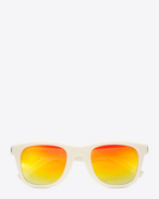 SAINT LAURENT CLASSIC E CLASSIC 51 Sunglasses in Shiny Ivory Resin with Rainbow Mirrored Lenses   f