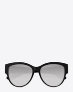SAINT LAURENT MONOGRAM SUNGLASSES D MONOGRAM M3/F Sunglasses in Shiny Black Acetate and Silver Metal with White Mirrored Lenses   f