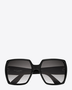 SAINT LAURENT MONOGRAM SUNGLASSES D MONOGRAM M2/F Sunglasses in Shiny Black Acetate and Matte Black Metal with Grey Gradient Lenses f