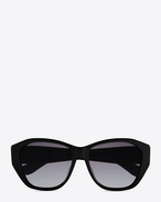 SAINT LAURENT MONOGRAM SUNGLASSES D MONOGRAM M8 Sunglasses in Shiny Black Acetate and Gold Metal with Grey Gradient Lenses f