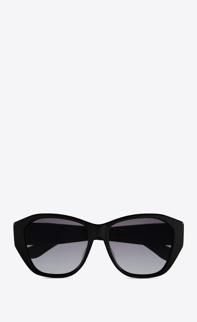 SAINT LAURENT MONOGRAM SUNGLASSES D MONOGRAM M8 Sunglasses in Shiny Black Acetate and Gold Metal with Grey Gradient Lenses a_V4