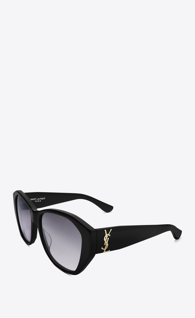 SAINT LAURENT MONOGRAM SUNGLASSES D MONOGRAM M8 Sunglasses in Shiny Black Acetate and Gold Metal with Grey Gradient Lenses b_V4