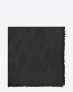 SAINT LAURENT Squared Scarves D SIGNATURE Large Square Scarf in Black Silk Jacquard f