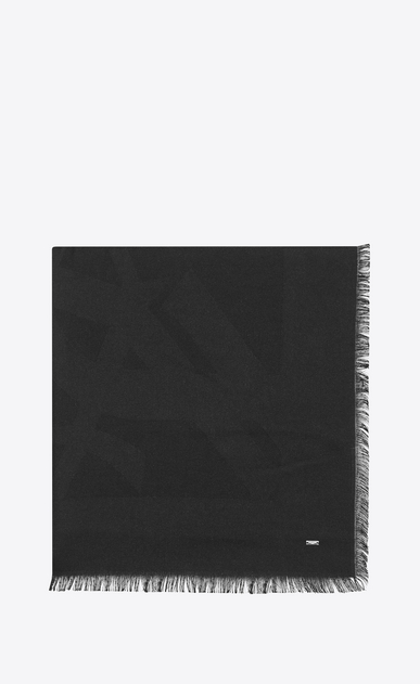 SAINT LAURENT Carrés Femme Grande écharpe carrée en jacquard de soie noir a_V4