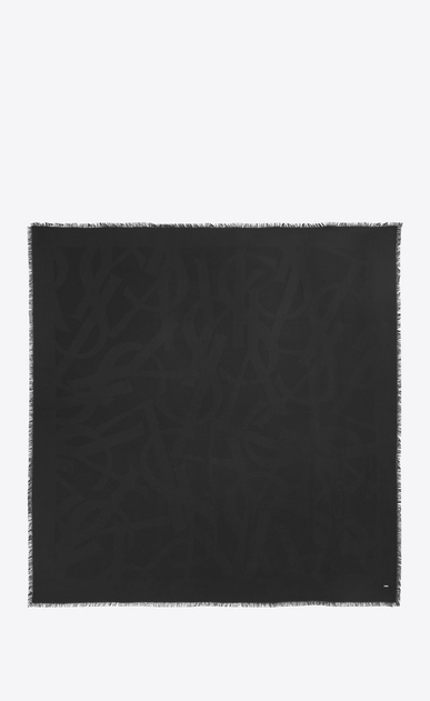 SAINT LAURENT Squared Scarves Woman SIGNATURE Large Square Scarf in Black Silk Jacquard b_V4