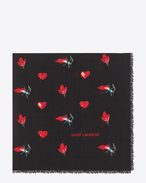 SAINT LAURENT Foulard Quadrati D Sciarpa quadrata large nera e rossa in twill di lana a stampa Heart, Lightening Bolt e Flame f
