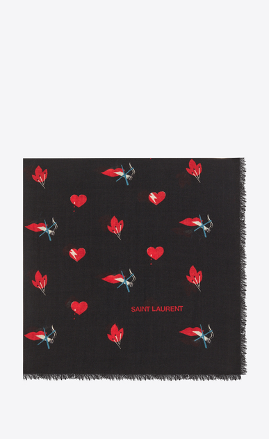 Large Square Scarf in Black and Red Heart, Lightening Bolt and Flame Printed Wool Twill