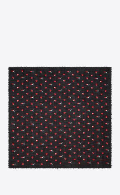 SAINT LAURENT Squared Scarves Woman Large Square Scarf in Black and Red Heart, Lightening Bolt and Flame Printed Wool Twill b_V4