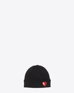 SAINT LAURENT Hats D Knit Hat with Lightening Bolt Heart Patch in Black and Red Wool f