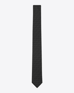 SAINT LAURENT Skinny Ties U Slim Tie in Black and Grey YSL Woven Silk Jacquard f