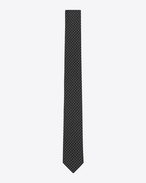 SAINT LAURENT Classic Ties U Slim Tie in Black and White Polka Dot Woven Silk Jacquard f