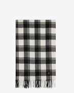 SAINT LAURENT Large scarves U Scarf in Black and Ivory Knit Wool and Cashmere Plaid Jacquard f