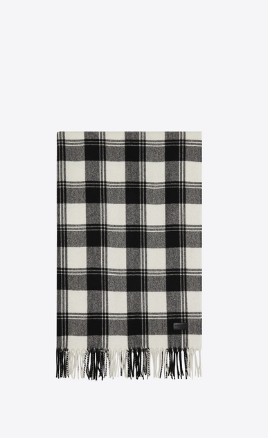 Scarf in Black and Ivory Knit Wool and Cashmere Plaid Jacquard